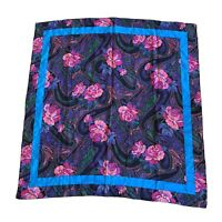 "36"" Square 100% Silk Scarf Paisley Pink Roses Purple Black Blue"