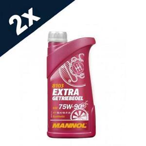 MANNOL 2x1L Extra Getriebeoel 75w90 Fully Synthetic Gear Oil GL-4 GL-5 LS