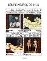 Central African Rep Art Stamps 2019 MNH Nude Paintings Nudes Picasso Durer 4v MS