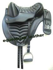 "Synthetic treeless saddle black with Matching stitching +matching Girth 15"""