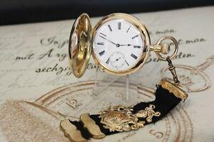 Antike Schweizer Sprungdeckel Taschenuhr 0.585 14K Gold pocket watch 17 Rubis