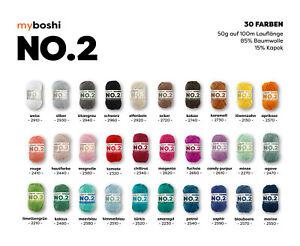 myboshi No.2, 85% Baumwolle, 15% Kapok, 50g, 100m, 1 Knäuel Wolle, 30 Farben