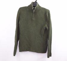 J Crew Mens Medium Casual Half Zip Rib Knit Pullover Sweater Green Cotton