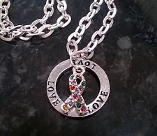 "Autism awareness ribbon silver plated necklace 20"" chain coloured crystal charm"