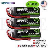 3pcs OVONIC 3000mAh 11.1V 50C 3S Lipo Battery Deans Plug for Heli Car Truk Quad