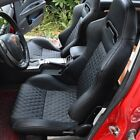 1 Pair Leather Racing Seats Reclinable W/2 Sliders Sport Bucket 2 Seat Black