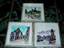 3 Wales Japan Ceramic Wall Hangings Street Scene