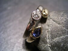 REIF-DESIGN - ELEGANTER DIAMANT UND SAFIR RING - 585 GOLD BICOLOR