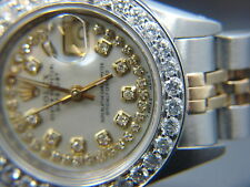 LADIES ROLEX DATEJUST  WATCH 2.3 CT  GOLD S / S  MOP DIAMOND DIAL BEZEL