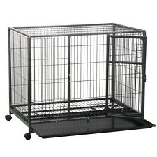 "43"" Heavy Duty Metal Dog Rolling Cage Crate Kennel Playpen FOR DOGS in Sizes"