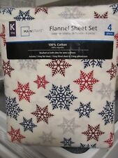 NEW CHRISTMAS MAINSTAYS KING SIZE FLANNEL SHEET SET SNOWFLAKES RED/BLUE IVORY