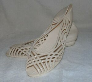 Vintage Jellies Fun Steps Shoes Beige Size 9 80s Cool Womens #11