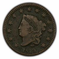 1829 1c Coronet Head Large Cent - Mid-Grade Coin - SKU-X1554