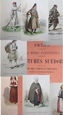 Costumes suédois dessinés par MM. Camino et Regamey 20 pl bel etat vers 1880 ?