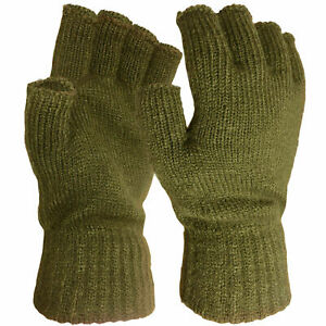 Kombat Thermal Insulated Gloves GREEN knitted FINGERLESS Army warm L/M/XL 1 size
