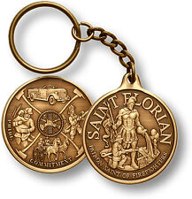 Saint Florian Firefighter Mural medal coin style antiqued bronze key chain