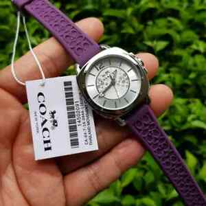 Coach Boyfriend C Embossed Logo Purple Rubber Strap Watch