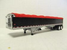 DCP 1/64 SCALE WILSON GRAIN TRAILER (HOPPER BOTTOM) BLACK WITH RED TARP