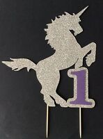 Glitter Unicorn Birthday Cake Topper with number or initial, many colours avail.