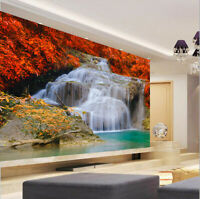 3D Waterfall Red Maple Self-adhesive Wallpaper Wall Painting TV Background Mural