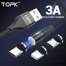 TOPK 3A Magnetic Fast Charging Cable USB Type C & iPhone Charger Data Sync Cord