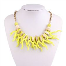 Yellow Coral Shell Turquoise Pendant Alloy Bib Chain Choker Necklace