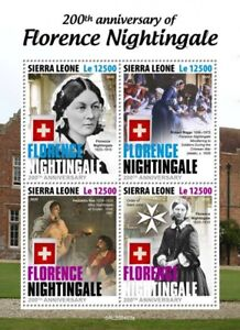 FLORENCE NIGHTINGALE Crimea War Nurse & Nursing Stamp Sheet (2020 Sierra Leone)
