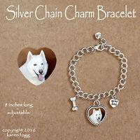 SIBERIAN HUSKY DOG White - CHARM BRACELET SILVER CHAIN & HEART