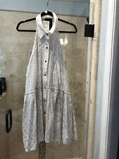 Free People New Romantics Tuxedo Button Down Shirt Dress L Large Silver T Back