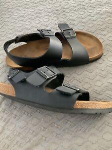 Birkenstock Milano Regular Fit Mens Women. Black Sandals Size 7 Eu 40 Slingback