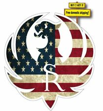 """Ruger Logo with American Flag Superimposed Decal/Sticker 3.5"""" Gun Rights P24"""