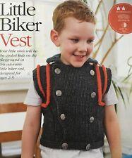 KNITTING PATTERN Childrens Collared Biker Sleeveless Jacket Vest Boys King Cole