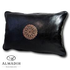 ALMADIH XL Lederkissen 50x35cm Leder Kissen Dekokissen Sofakissen schwarz Bezug