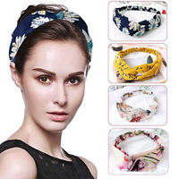 HN- Women Flower Print Cross Knotted Headband Hair Band Elastic Headwear Deluxe