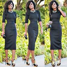 Womens Bodycon Midi Pencil Dress Formal Business Party Evening Cocktail S LZF07
