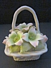 Royal Albert Old Country Porcelain Basket with Flowers. Pink Green. Lily.