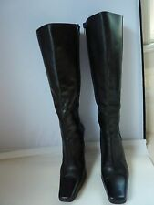 GUESS Sexy Tall Black Leather Boot Size 5.5 M ~ Stiletto Heel