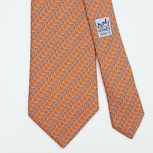 HERMES TIE 5262 SA Blue Horse Bit on Orange Classic Silk Necktie