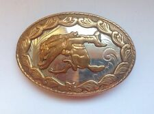 VTG GERMAN SILVER and GOLD Western RODEO Cowboy HORSEBACK RIDER BELT BUCKLE