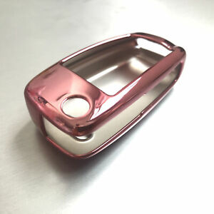 1x Flip Key Fob Cover Case TPU Anti-shock Pink For Audi A3 S3 A4 S4 A6 Q5 Q7 TT