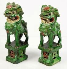 RARE Pair of Chinese Green Glazed Guardian Lions Circa 1850 w/ Loose Ball!