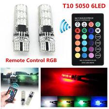 2X LED T10 Remote Control W5W 6SMD RGB Color Changing Car Wedge Flash Light Bulb