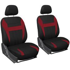Car Seat Cover Red Black 6pc Set Bucket for Auto w/Detachable Head Rests Mesh