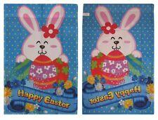 """28x40 Happy Easter Bunny Eggs Egg Blue Nylon Sleeved Garden Flag 28""""x40"""""""