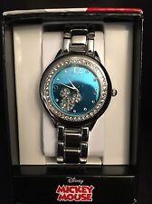 Women Mickey Mouse Rhinestone Accent Silver Tone Bracelet Watch w/ Blue Face NEW
