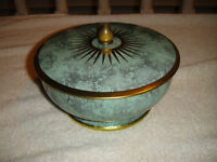 Tin Container Made In England Marble Design 2 Parts Lid Bottom