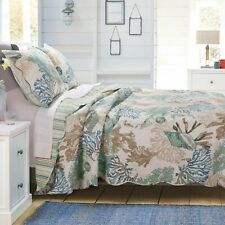 Barefoot Bungalow Atlantis Seashells Quilt & Pillow Sham Set Jade