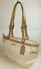 COACH Signature Gallery Purse East/West Beige Tote Bag Adjustable Straps F17676