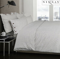 Dejong 100% Cotton Grey Stripe Duvet Cover Bedding Set Embellished with Buttons