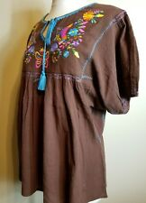 Ivy Jane Casual bohemian embroidery Top-Blouse with short sleeve- Small-  brown